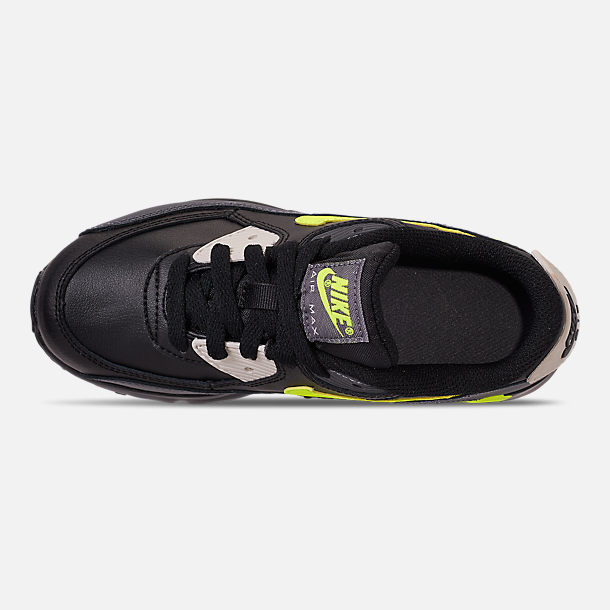 Top view of Little Kids' Nike Air Max 90 Leather Casual Shoes in Dark Grey/Volt/Black/Light Bone