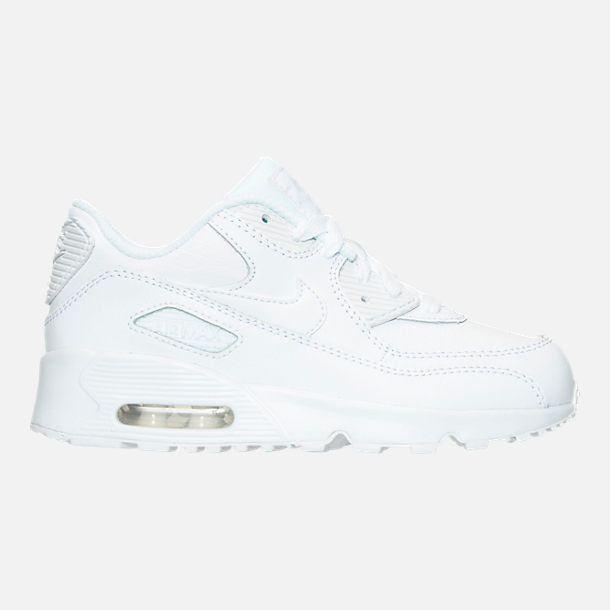 Right view of Kids Preschool Nike Air Max 90 Leather Casual Shoes in White