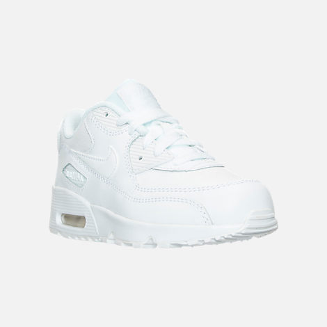 Three Quarter view of Little Kids' Nike Air Max 90 Leather Casual Shoes in White/White
