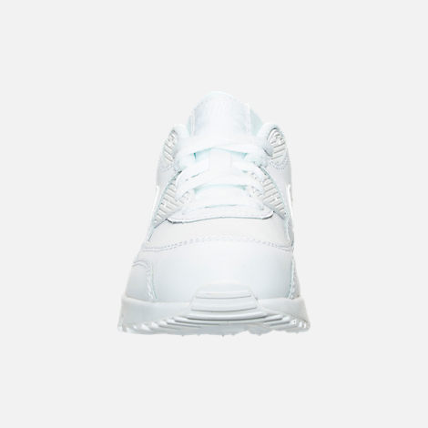 Front view of Little Kids' Nike Air Max 90 Leather Casual Shoes in White/White