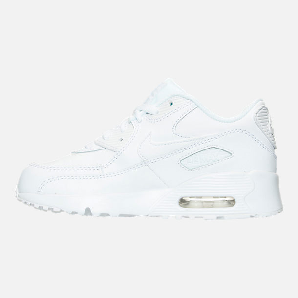 Left view of Little Kids' Nike Air Max 90 Leather Casual Shoes in White/White