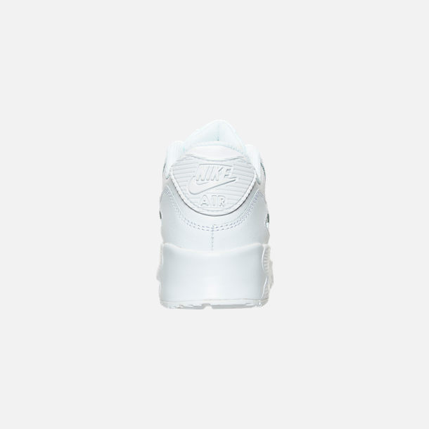 Back view of Little Kids' Nike Air Max 90 Leather Casual Shoes in White/White
