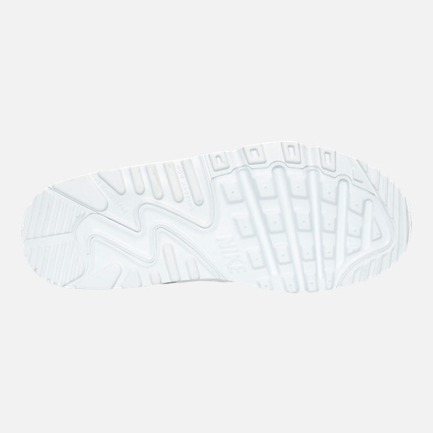 Bottom view of Little Kids' Nike Air Max 90 Leather Casual Shoes in White/White