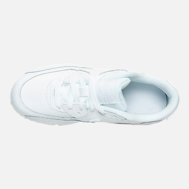 Top view of Little Kids' Nike Air Max 90 Leather Casual Shoes in White/White