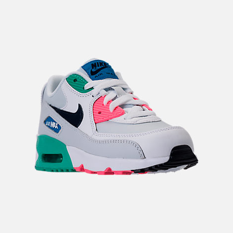 Three Quarter view of Little Kids' Nike Air Max 90 Leather Casual Shoes in White/Obsidian/Pure Platinum