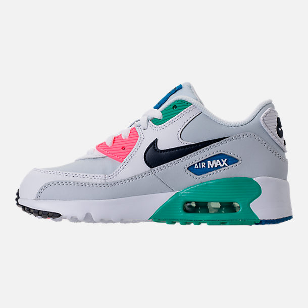 Left view of Little Kids' Nike Air Max 90 Leather Casual Shoes in White/Obsidian/Pure Platinum