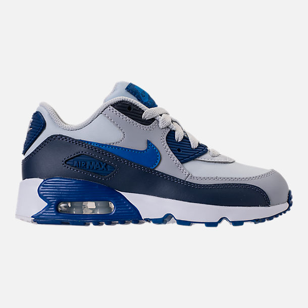 Right view of Kids' Preschool Nike Air Max 90 Leather Running Shoes in Thunder Blue/Blue Nebula/Wolf Grey