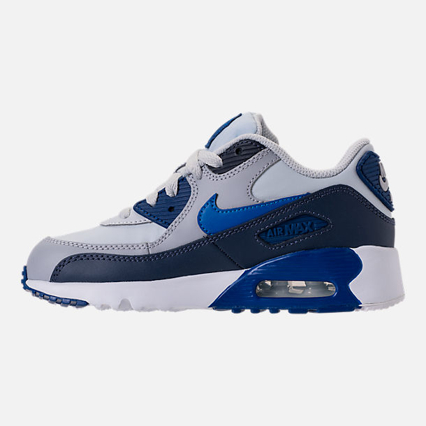 Left view of Kids' Preschool Nike Air Max 90 Leather Running Shoes in Thunder Blue/Blue Nebula/Wolf Grey