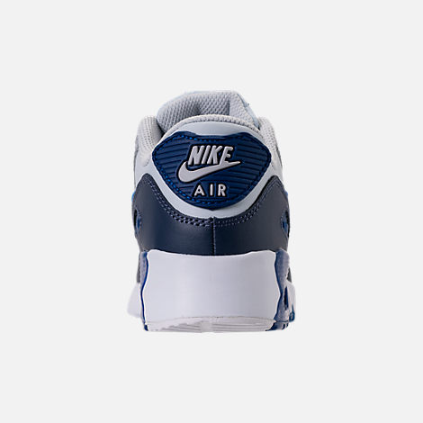 Back view of Kids' Preschool Nike Air Max 90 Leather Running Shoes in Thunder Blue/Blue Nebula/Wolf Grey