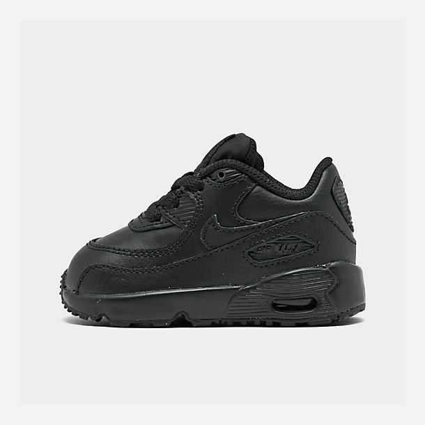 Right view of Kids' Toddler Nike Air Max 90 Leather Casual Shoes in Black/Black
