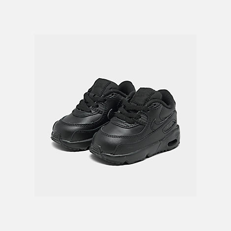 Three Quarter view of Kids' Toddler Nike Air Max 90 Leather Casual Shoes in Black/Black