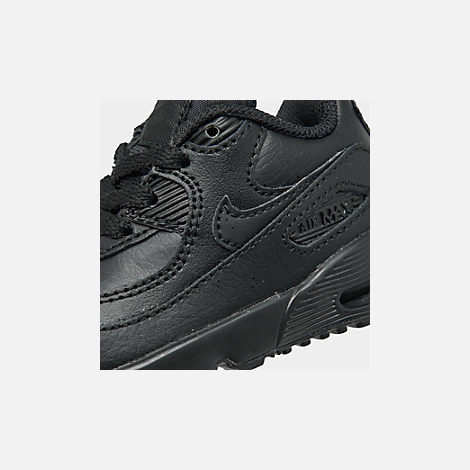 Front view of Kids' Toddler Nike Air Max 90 Leather Casual Shoes in Black/Black