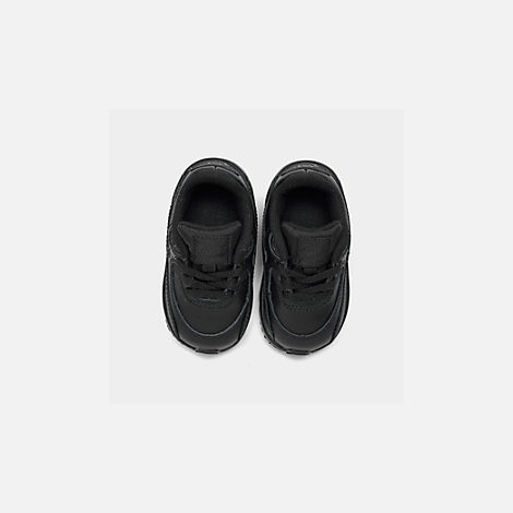 Back view of Kids' Toddler Nike Air Max 90 Leather Casual Shoes in Black/Black