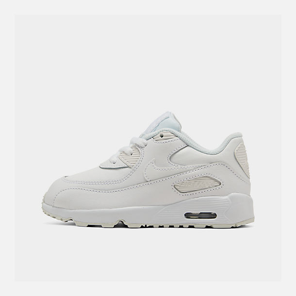 Right view of Kids' Toddler Nike Air Max 90 Leather Running Shoes in White/White
