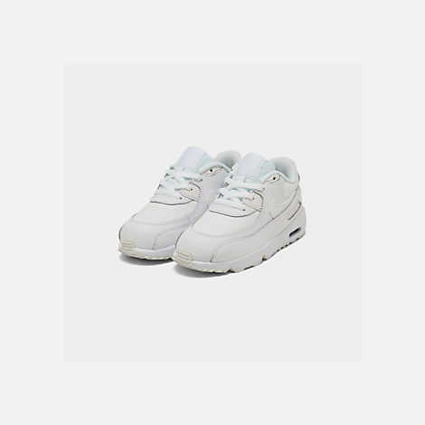 Three Quarter view of Kids' Toddler Nike Air Max 90 Leather Running Shoes in White/White
