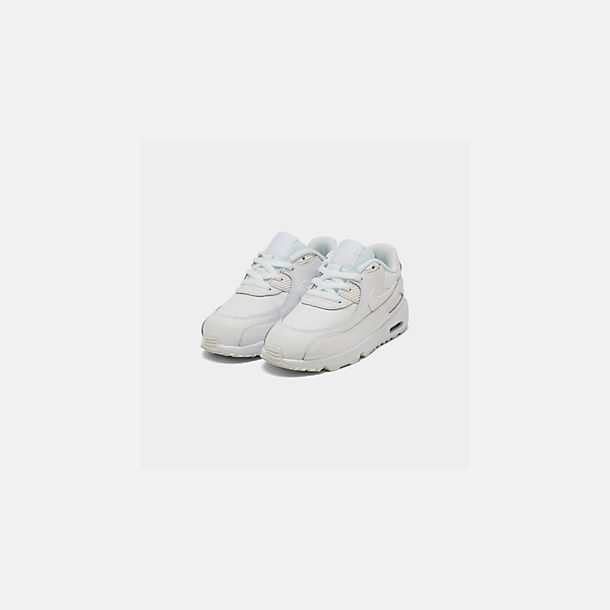 Three Quarter view of Kids' Toddler Nike Air Max 90 Leather Casual Shoes in White/White