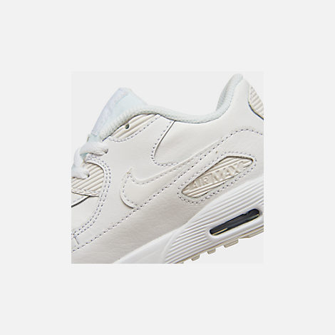 Front view of Kids' Toddler Nike Air Max 90 Leather Running Shoes in White/White