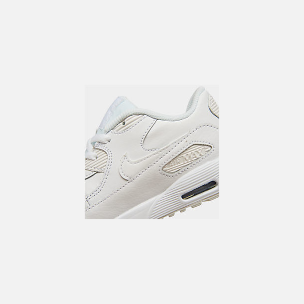 Front view of Kids' Toddler Nike Air Max 90 Leather Casual Shoes in White/White