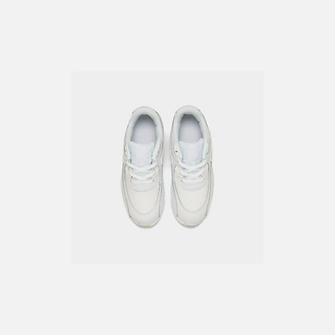 Back view of Kids' Toddler Nike Air Max 90 Leather Running Shoes in White/White