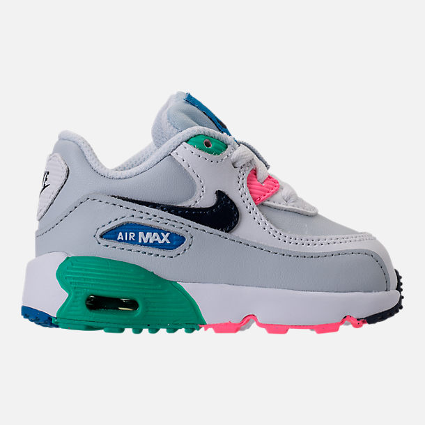 Right view of Kids' Toddler Nike Air Max 90 Leather Running Shoes in White/Obsidian/Pure Platinum/Blue