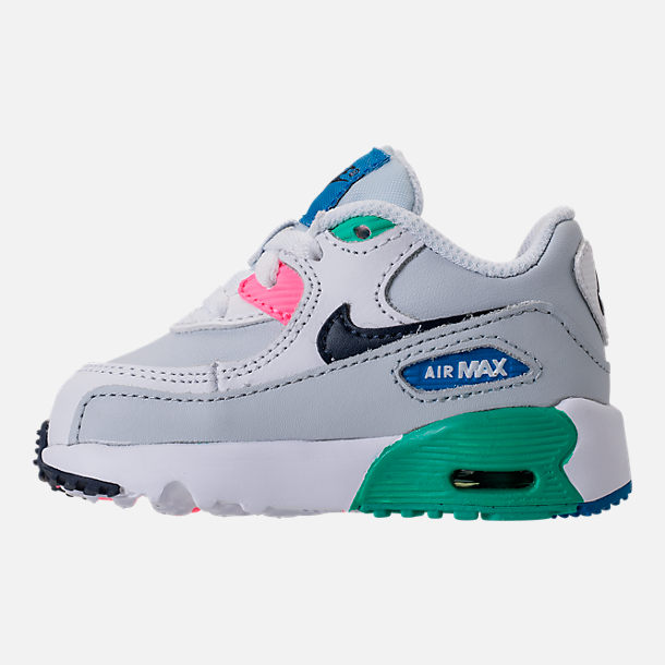 Left view of Kids' Toddler Nike Air Max 90 Leather Running Shoes in White/Obsidian/Pure Platinum/Blue