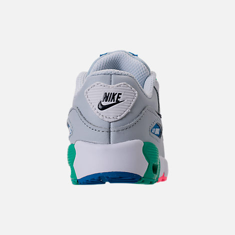 Back view of Kids' Toddler Nike Air Max 90 Leather Running Shoes in White/Obsidian/Pure Platinum/Blue