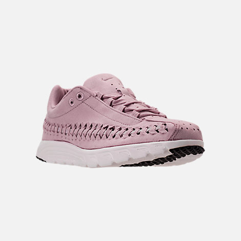 Three Quarter view of Women's Nike Mayfly Woven Casual Shoes in Particle Rose/Grey/Black