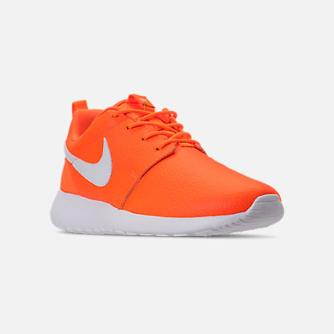 Three Quarter view of Women's Nike Roshe One Premium Casual Shoes in Total Orange/White/Black