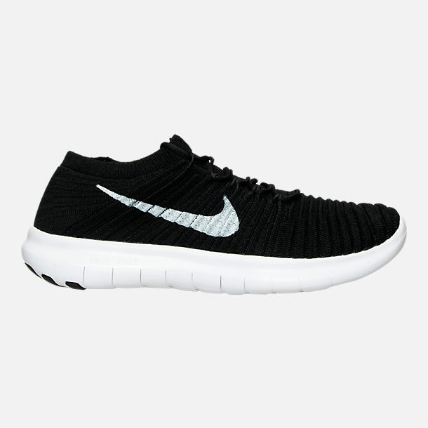 Right view of Women's Nike Free RN Motion Flyknit Running Shoes in Black/White/Volt/Grey