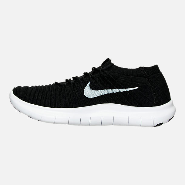 Left view of Women's Nike Free RN Motion Flyknit Running Shoes in Black/White/Volt/Grey