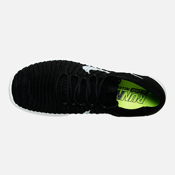 Top view of Women's Nike Free RN Motion Flyknit Running Shoes in Black/White/Volt/Grey