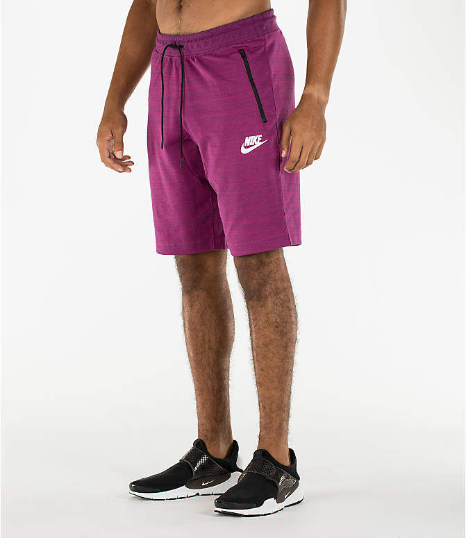 Front Three Quarter view of Men's Nike Sportswear AV15 Knit Shorts in Berry