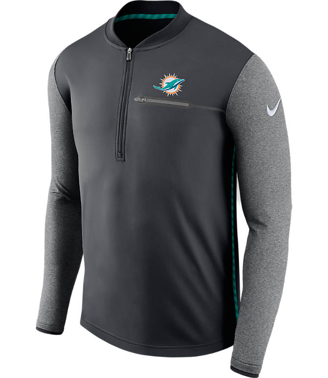 Front view of Men's Nike Miami Dolphins NFL Coaches Half-Zip Jacket in Anthracite