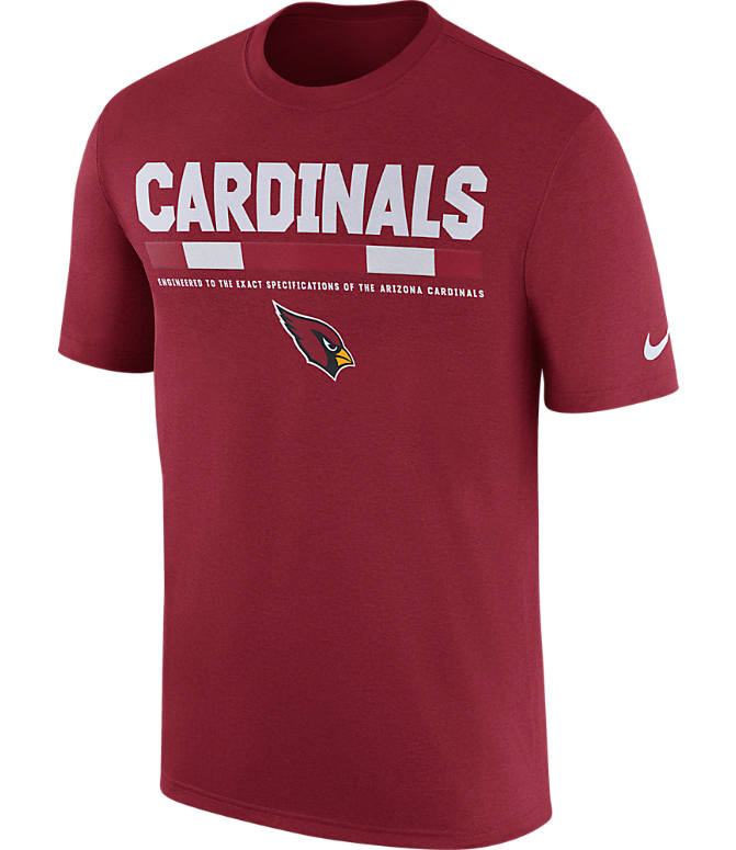 Front view of Men's Nike Arizona Cardinals NFL Legend Staff T-Shirt in Red