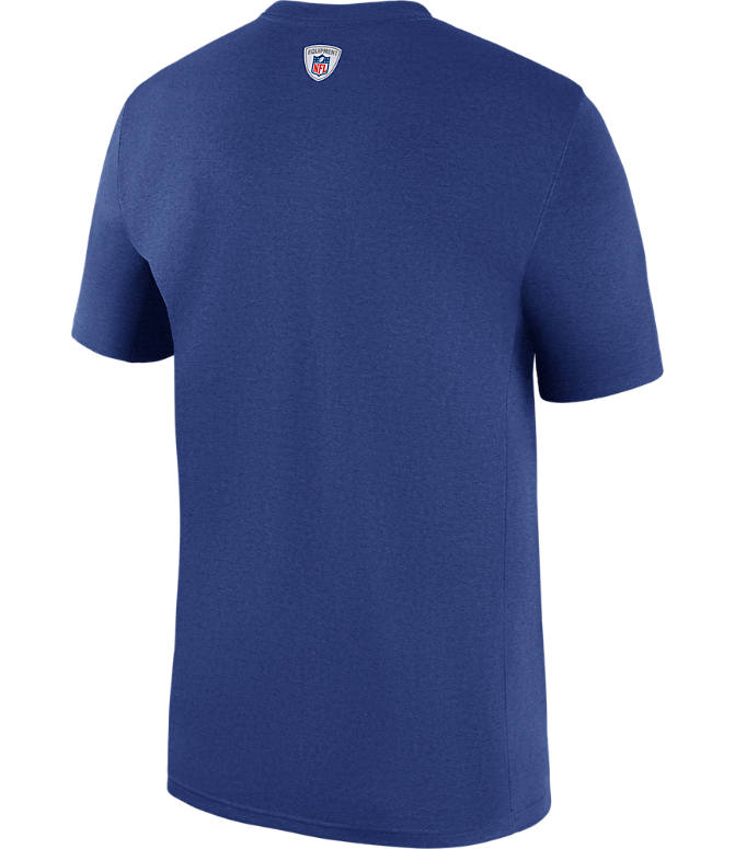 Back view of Men's Nike New York Giants NFL Legend Staff T-Shirt in Blue