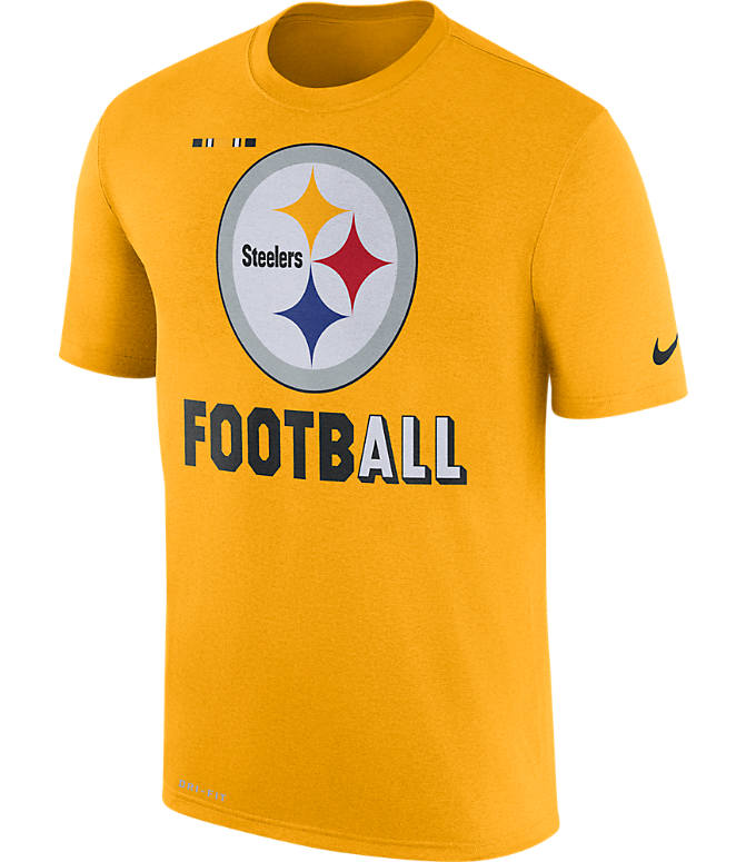 Front view of Men's Nike Pittsburgh Steelers NFL Legend Onfield T-Shirt in Gold