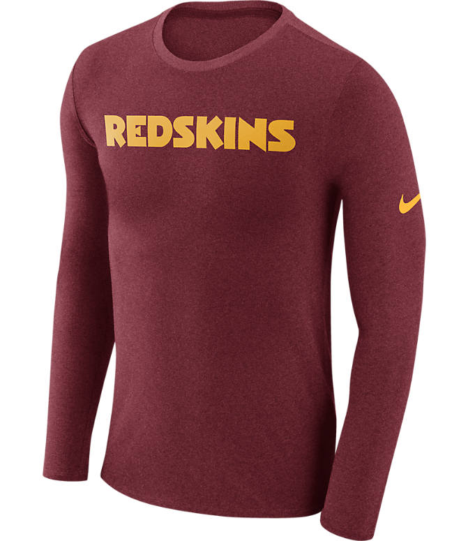 Front view of Men's Nike Washington Redskins NFL Long-Sleeve Marled T-Shirt in Red