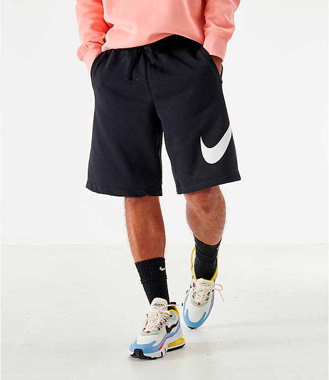 Back Right view of Men's Nike Sportswear Club Fleece Shorts in Black/White
