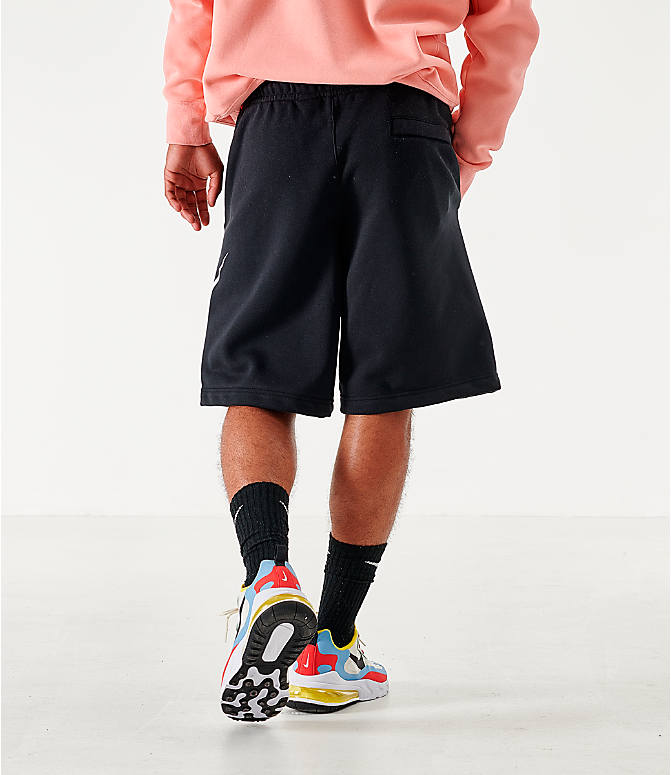 On Model 5 view of Men's Nike Sportswear Club Fleece Shorts in Black/White