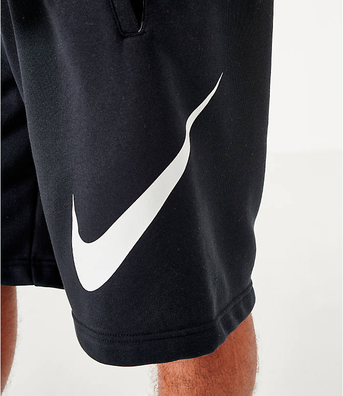 On Model 6 view of Men's Nike Sportswear Club Fleece Shorts in Black/White