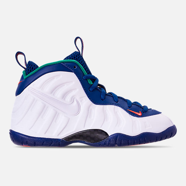 Right view of Boys' Preschool Nike Little Posite Pro Basketball Shoes in Gym Blue/White/Cone/Neptune Green