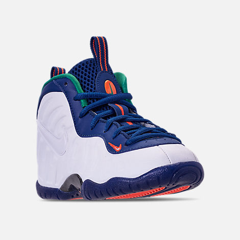 Three Quarter view of Boys' Preschool Nike Little Posite Pro Basketball Shoes in Gym Blue/White/Cone/Neptune Green