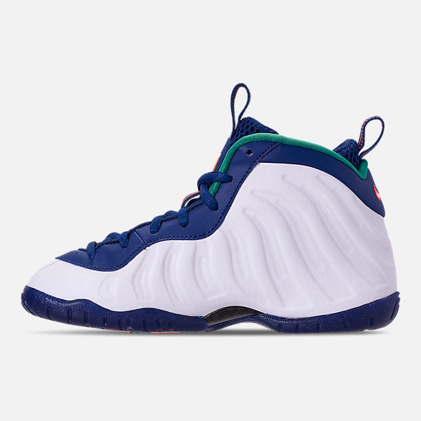 Left view of Boys' Preschool Nike Little Posite Pro Basketball Shoes in Gym Blue/White/Cone/Neptune Green