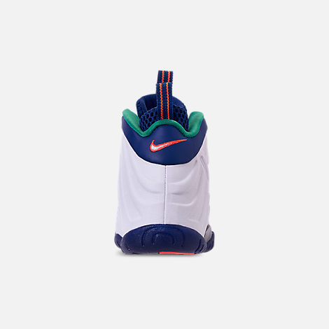 Back view of Boys' Preschool Nike Little Posite Pro Basketball Shoes in Gym Blue/White/Cone/Neptune Green