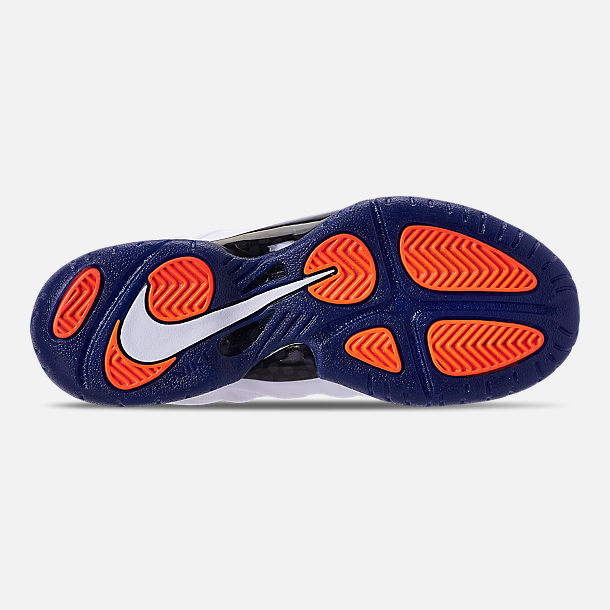 Bottom view of Boys' Preschool Nike Little Posite Pro Basketball Shoes in Gym Blue/White/Cone/Neptune Green