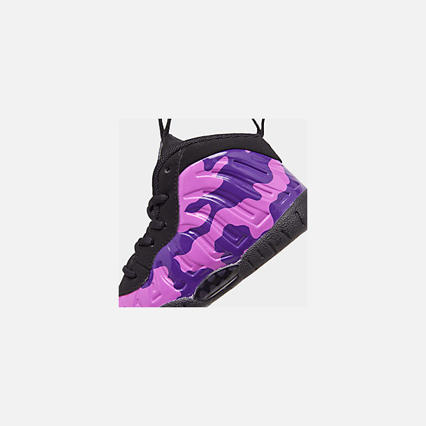 Front view of Kids' Toddler Nike Little Posite Pro Basketball Shoes in Black/Court Purple/Hyper Violet