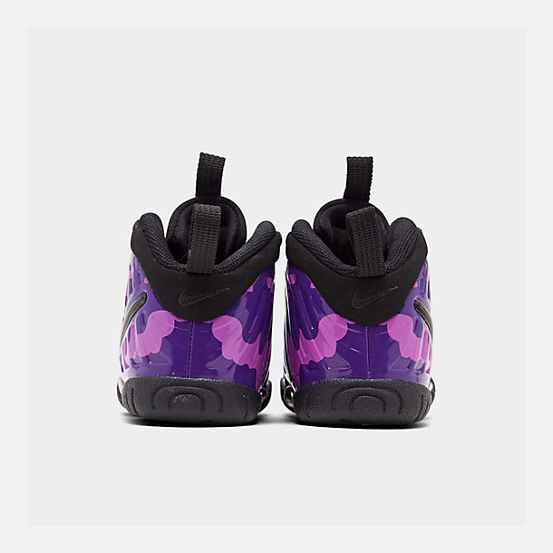 Left view of Kids' Toddler Nike Little Posite Pro Basketball Shoes in Black/Court Purple/Hyper Violet