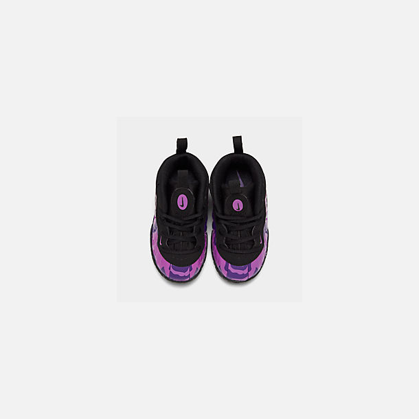 Back view of Kids' Toddler Nike Little Posite Pro Basketball Shoes in Black/Court Purple/Hyper Violet