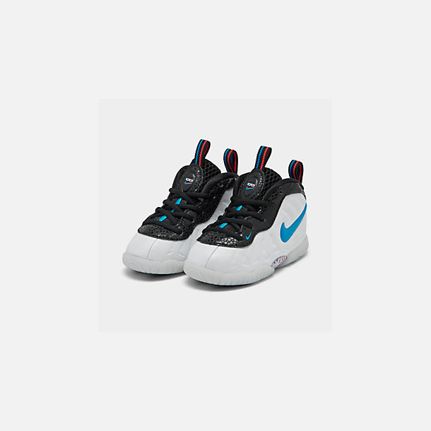 Three Quarter view of Kids' Toddler Nike Little Posite Pro Basketball Shoes in White/Blue Hero/Red Orbit/Indigo Fog