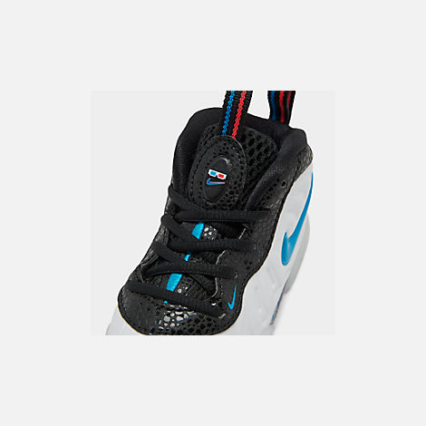 Front view of Kids' Toddler Nike Little Posite Pro Basketball Shoes in White/Blue Hero/Red Orbit/Indigo Fog
